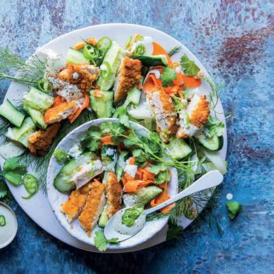 Chicken schnitzel salad with creamy jalapeño dressing