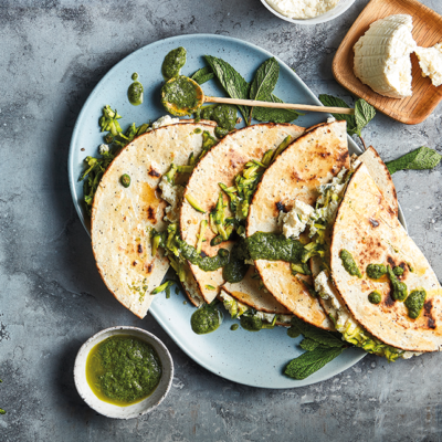 Green fast 'n' fresh quesadillas with chilli-and-mint dipping sauce