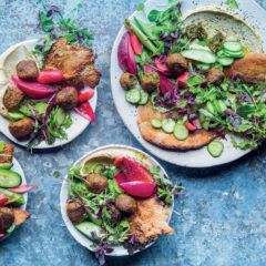 Hummus, falafel and pita crouton salad