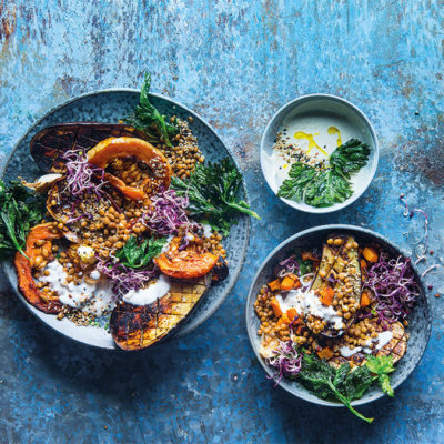 Lentil, grilled brinjal and butternut salad with tahini dressing