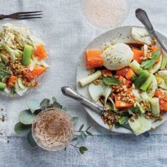 Mozzarella, poached leek, fennel and citrus salad