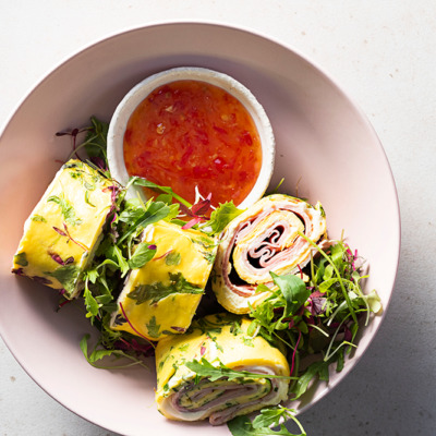 Ham-and-cheese omelette roll
