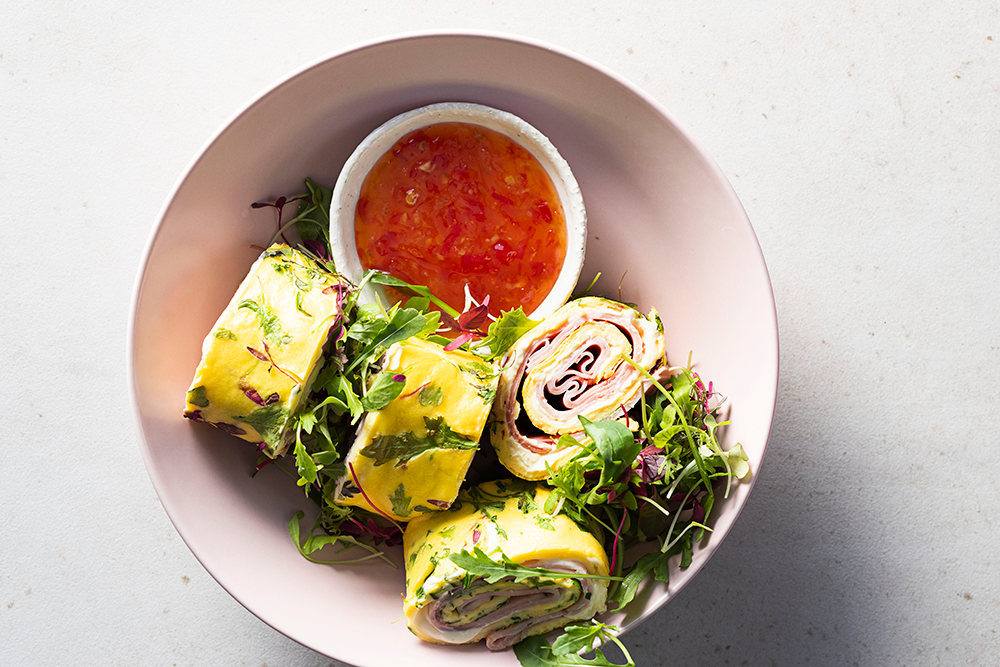 ham and cheese omelette rolls