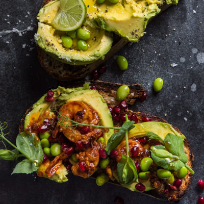 Siba's avo-and-chipotle butter prawn toast