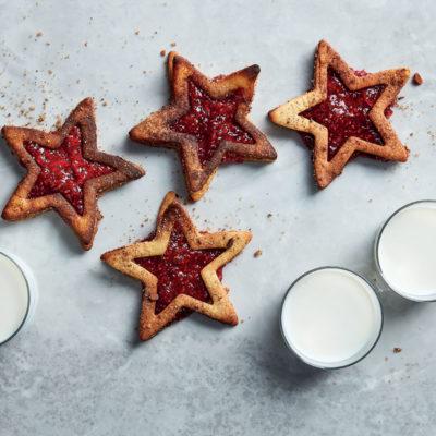 Raspberry jam-filled vanilla star biscuits
