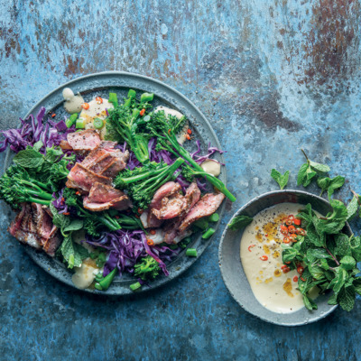 Tenderstem broccoli and steak salad with satay dressing