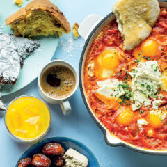 Baked shakshuka with feta and home-made labneh