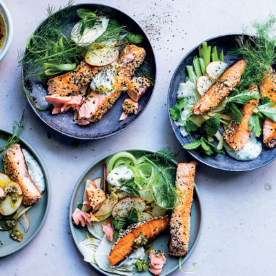 Grilled salmon with apple salad