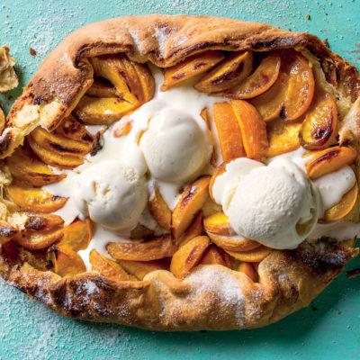 Free-form peach tart