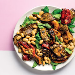 Marinated charred vegetables with butter beans
