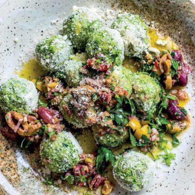 No-cook broccoli-and-cashew gnudi with olive salsa