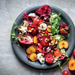Plum, goat's cheese and hazelnut salad