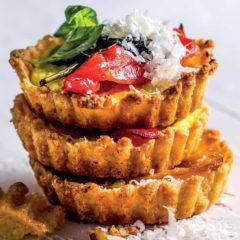 Roasted sweet pepper, ricotta and Parmesan tarts