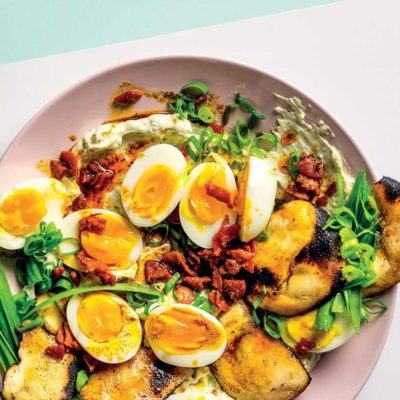 Turkish-inspired eggs with crispy chorizo and pita toast