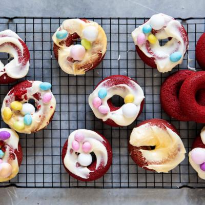 Siba's baked red velvet doughnuts