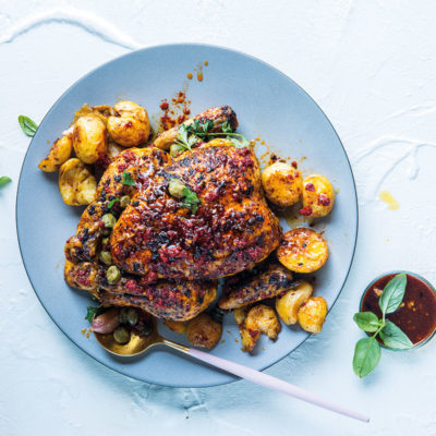 Soffritto chicken with caper potatoes