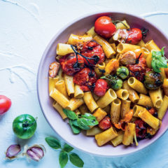 Sweet basil and balsamic roasted tomato rigatoni