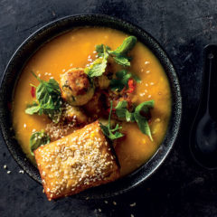 Asian butternut-and-chicken soup with prawn toast