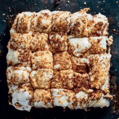 Coconut marshmallow-topped molten brownie slab