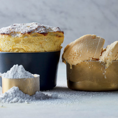 Lemon soufflé with lemon curd ice cream