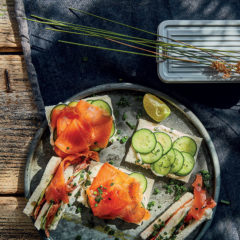 Inside-out trout-and-cucumber finger sandwiches