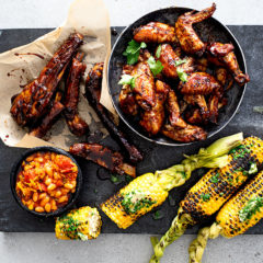 The Lazy Makoti's sticky ribs, chakalaka and plaited corn