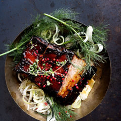 The Lazy Makoti's sticky pork belly with chickpea-and-bean salad