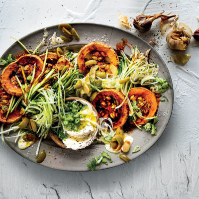 Baby marrow and fennel creamy dressed salad with smoky chilli roasted squash