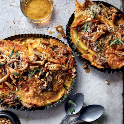 Creamy pulled chicken-and-mushroom lasagne with pine nuts