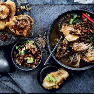 Crispy sesame tempura mushrooms and Asian-style mushroom larb broth