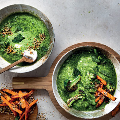 Lemony green soup with yoghurt, sweet potato fries and dukkah