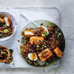 Nasi goreng-inspired rice with crispy sriracha tofu
