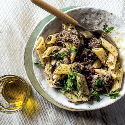 Olive-flecked pasta