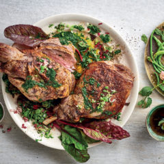 Roast lamb with green sauce