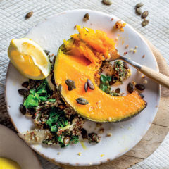 Roast pumpkin wedges with swiss chard and quinoa pilau