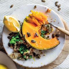 Roast pumpkin wedges with swiss chard and quinoa pilau