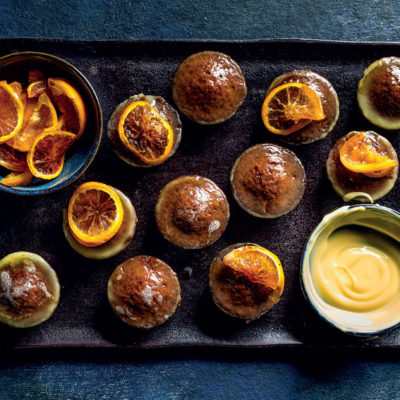 Orange-infused mini malva puddings
