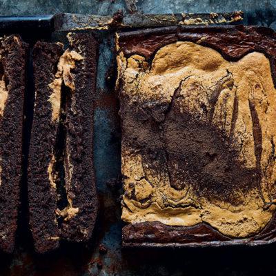 Tahini-and-peanut butter brownies