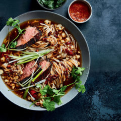 BBQ charred beef with spicy noodles