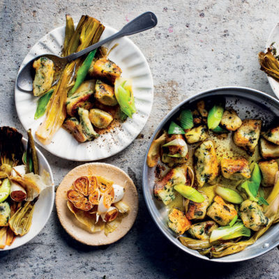 Baked fennel and leeks with gnocchi