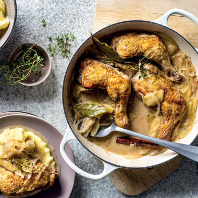 Braised chicken with shallots, apple and cider