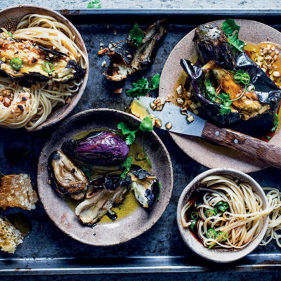 Chargrilled Asian-style brinjals with noodles