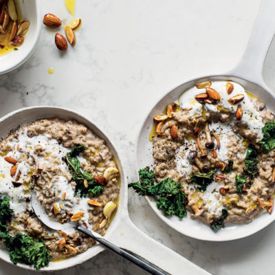 Cheat's creamy mushroom risotto with lemony kale