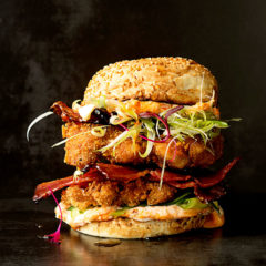 Chicken katsu burger with maple bacon and sesame-chilli mayo