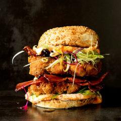 Chicken katsu burger with maple bacon and sesame-chilli mayo