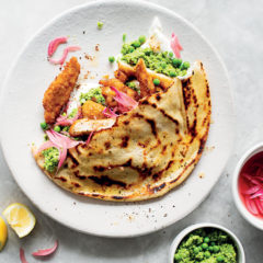 Crumbed chicken and pea pesto gyros