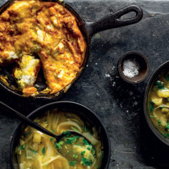 Leek-and-onion soup with ricotta frittata