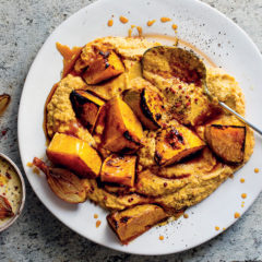 Milk-poached carrot-and-turnip mash with vino cotto-roasted butternut