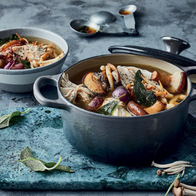 Pot au feu-inspired exotic mushroom-and-sage chicken