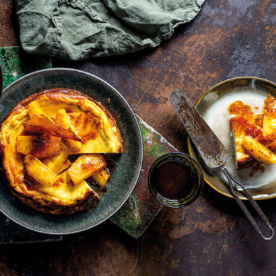 Roast pineapple with baked sweet ricotta